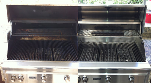 Before and after of grill cleaner near Tucson AZ.