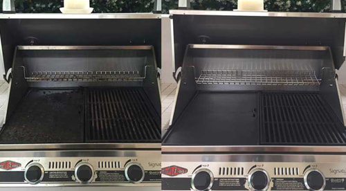 BBQ grill being cleaned by a professional grill cleaning service in Tucson AZ.